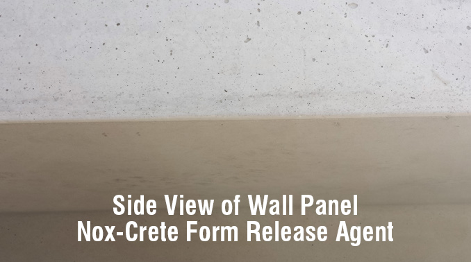 Nox-Crete form release agent side view of wall panel